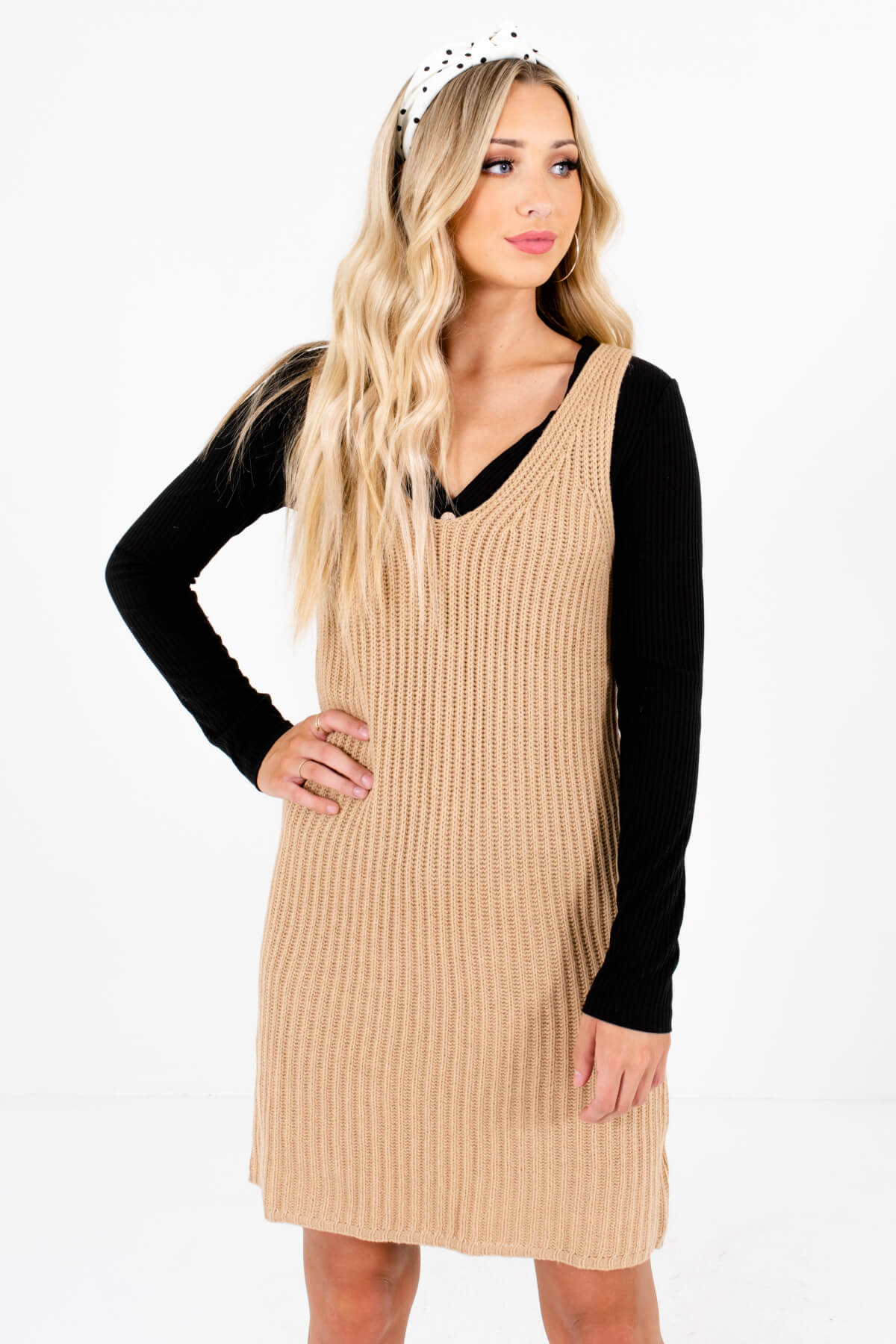 Beige Brown High-Quality Knit Material Boutique Mini Dresses for Women
