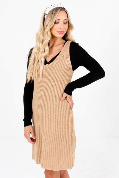 Women's Beige Brown Relaxed Comfortable Fit Boutique Mini Dress