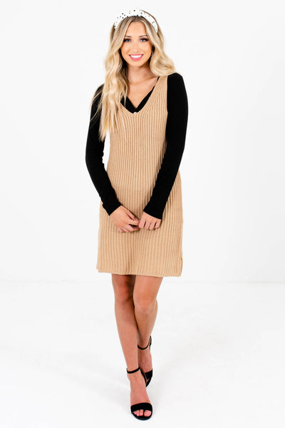 Beige Brown Cute and Casual Boutique Mini Dresses for Women