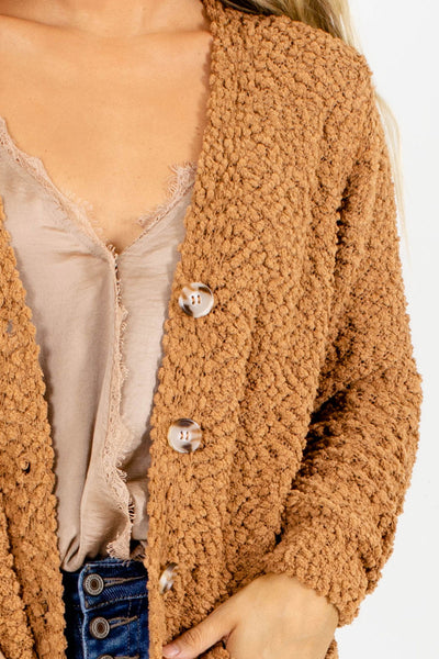 Women's Camel Long Sleeve Boutique Cardigan