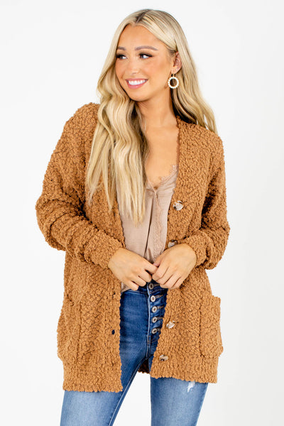 Camel Boutique Cardigans with Pockets for Women