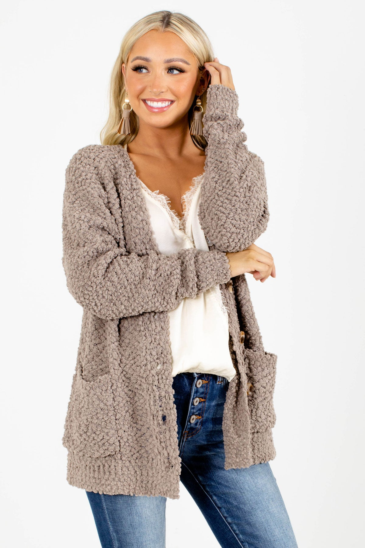Brown Popcorn Knit Boutique Cardigans for Women