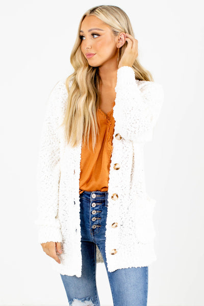 White Cute and Comfortable Boutique Cardigans for Women