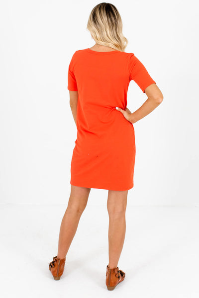 Women's Orange Relaxed Fit Boutique Mini Dress