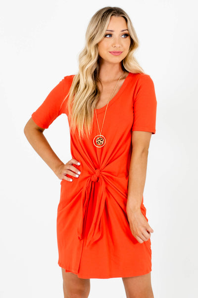 Orange Tie Front Detail Boutique Mini Dresses for Women