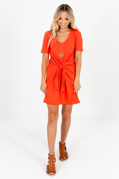 Women's Orange Semi-Stretchy Boutique Mini Dress