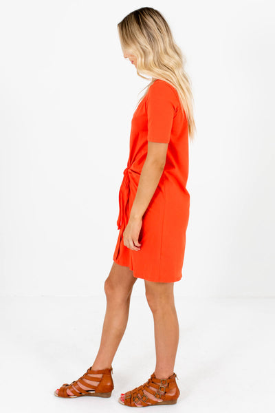 Orange T-Shirt Style Boutique Mini Dresses for Women
