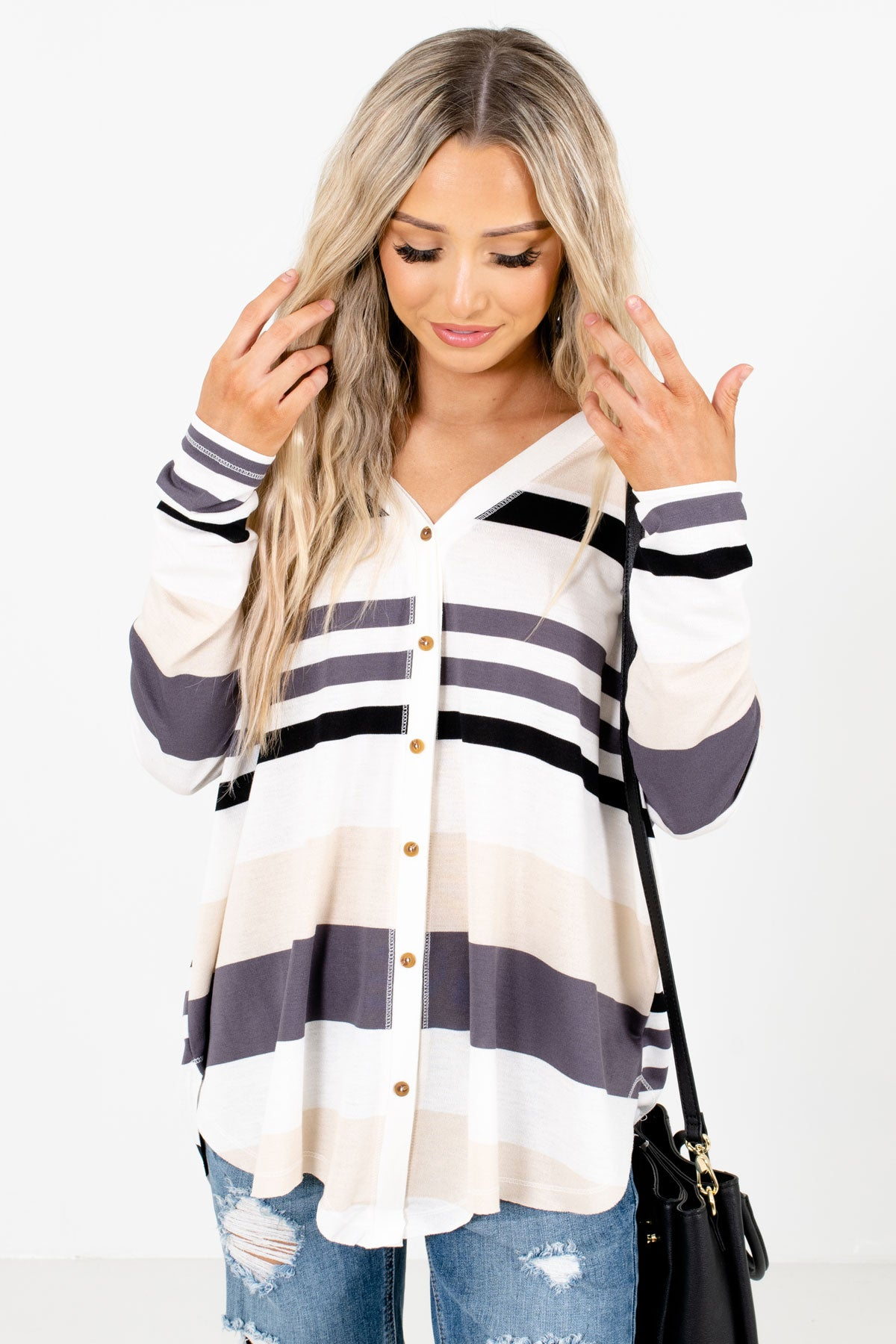 Gray Multi Striped Boutique Tops for Women