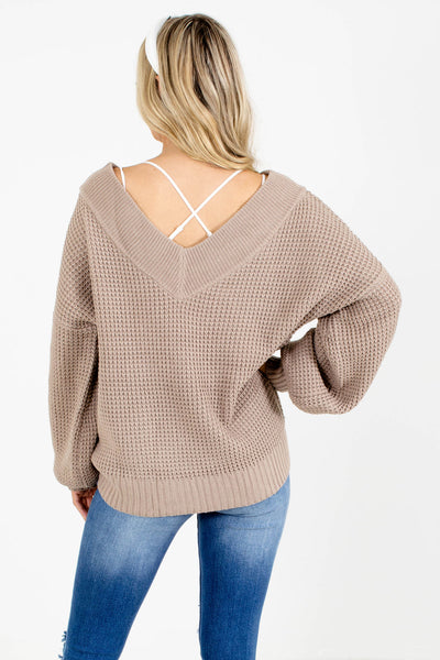 Women's Brown V-Neckline Boutique Sweater