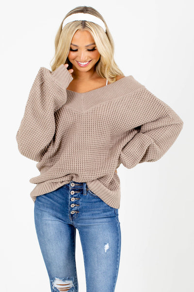 Brown Knit Boutique Sweaters for Women
