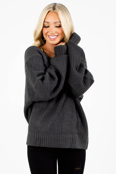 Women's Gray Casual Everyday Boutique Sweater