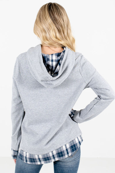 Women's Gray Drawstring Hood Boutique Hoodies