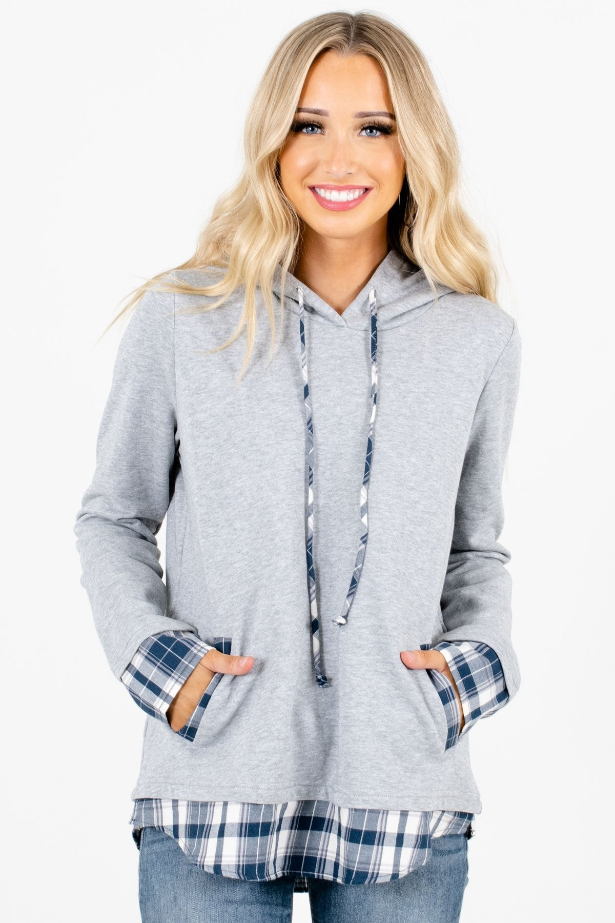 Gray Boutique Hoodie with Blue and White Plaid Accents for Women