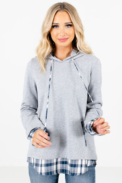 Women's Gray Thick High-Quality Boutique Hoodies