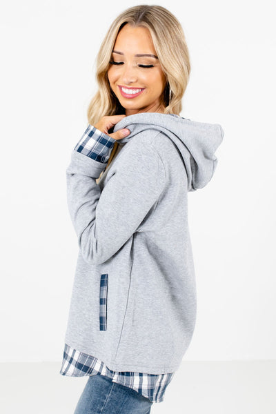 Gray Boutique Hoodies for Women with Pockets