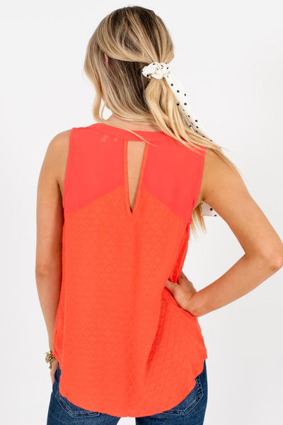 Orange Red Coral Cutout Textured Tank Tops for Women