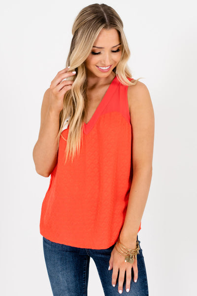Bright Orange Textured Tank Tops with Cutout Back Detail