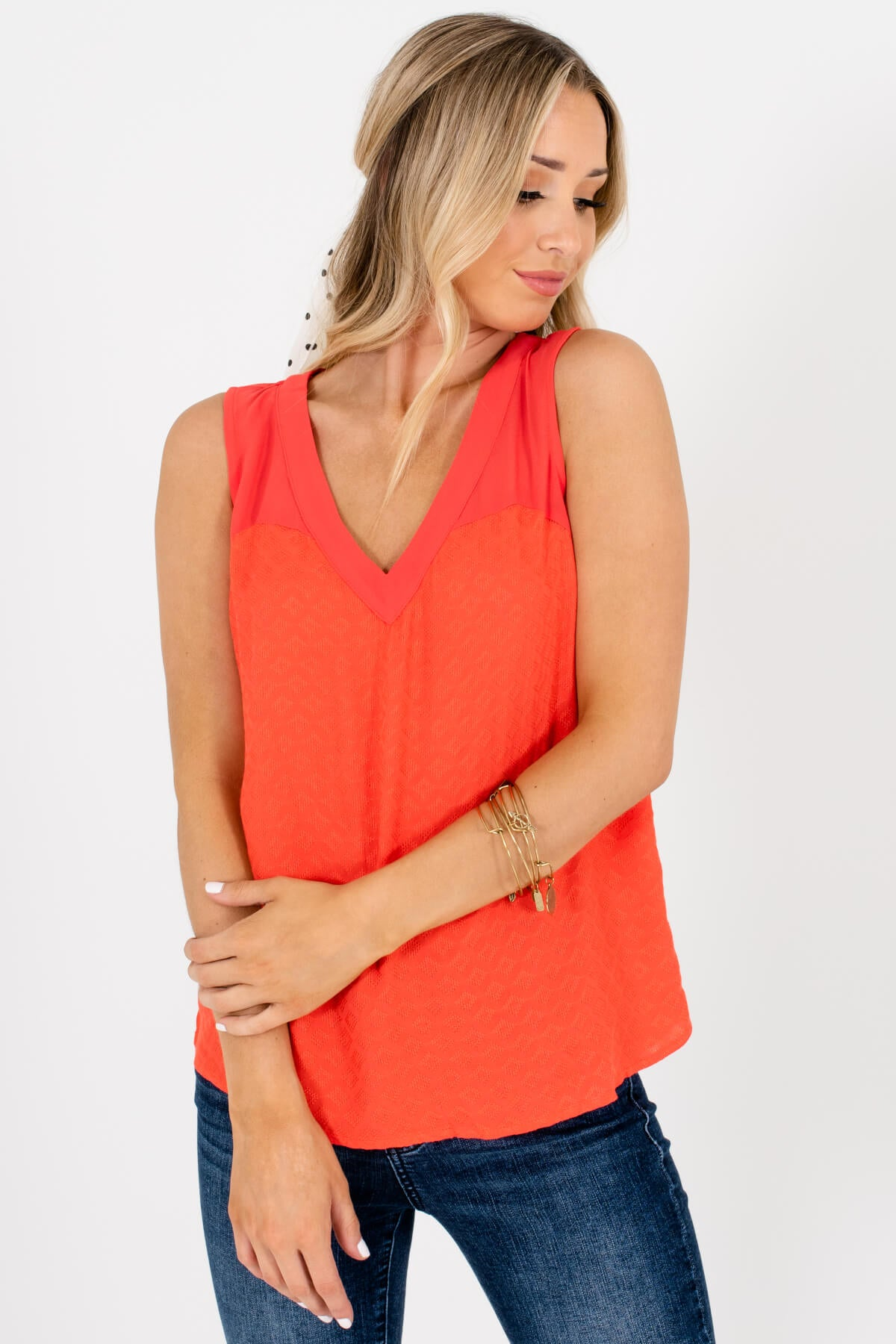 Bright Orange Textured Tank Tops Affordable Online Boutique