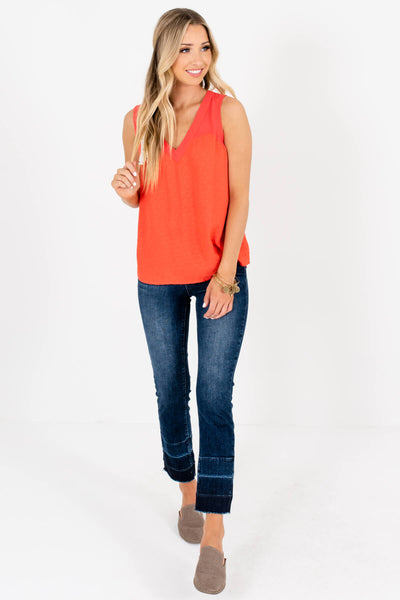 Bright Coral Orange Cutout V-Neck Textured Tank Tops