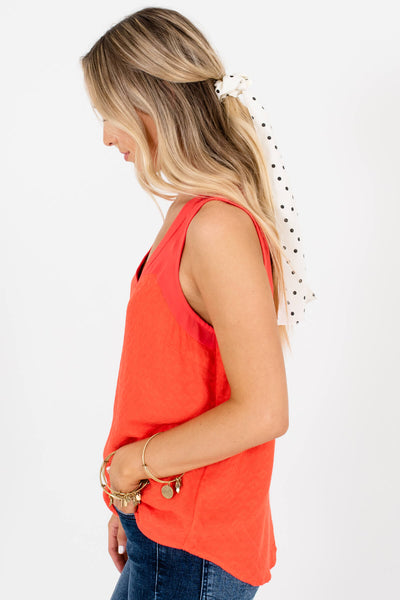 Bright Orange Textured Cutout Tank Tops for Women