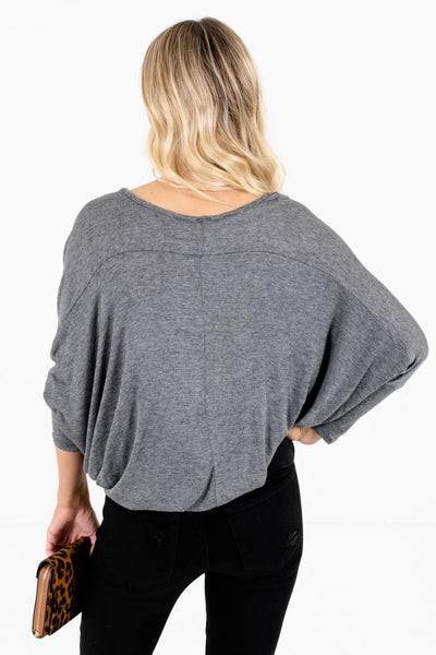 Women's Heather Gray Pleated Accents Boutique Top