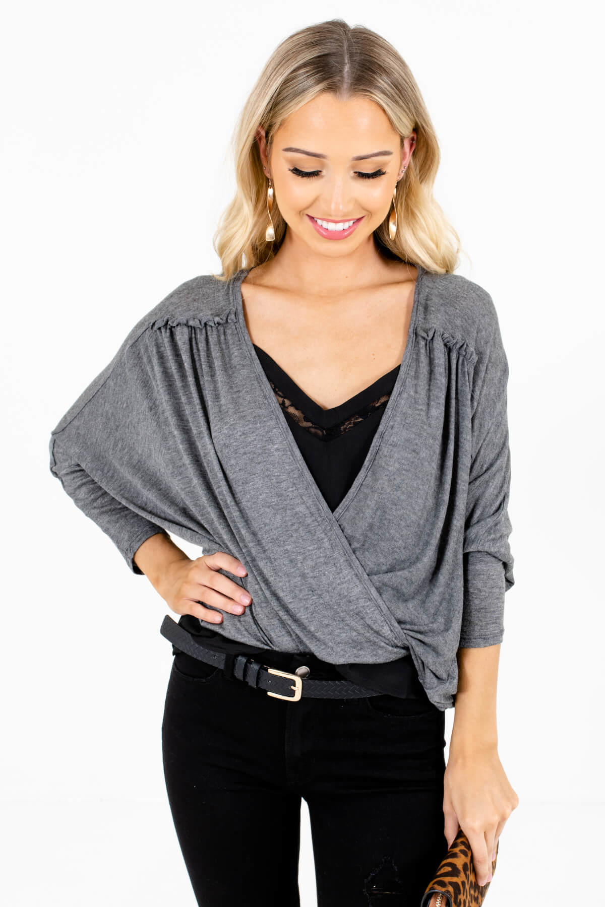 Heather Gray Wrap Style Boutique Tops for Women