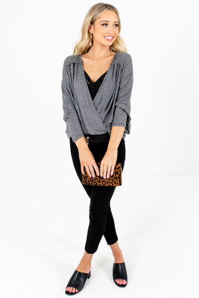 Women's Heather Gray Oversized Relaxed Fit Boutique Tops