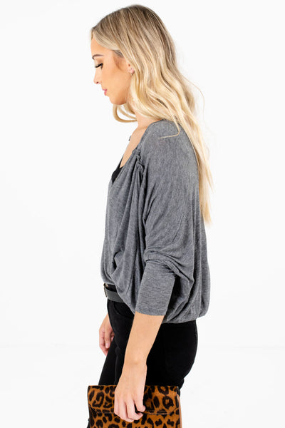 Heather Gray Drop Should Style Boutique Tops for Women