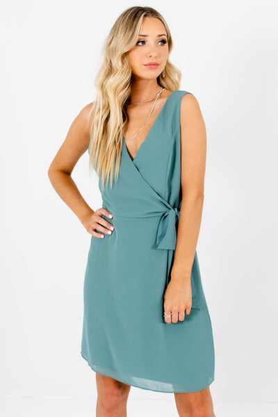 Women's Green High-Quality Boutique Mini Dress