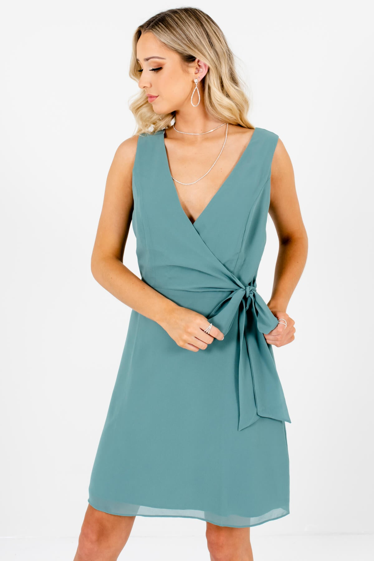 Green Faux Wrap Style Boutique Mini Dresses for Women