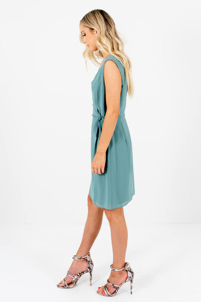 Green Waist Tie Detail Boutique Mini Dresses for Women