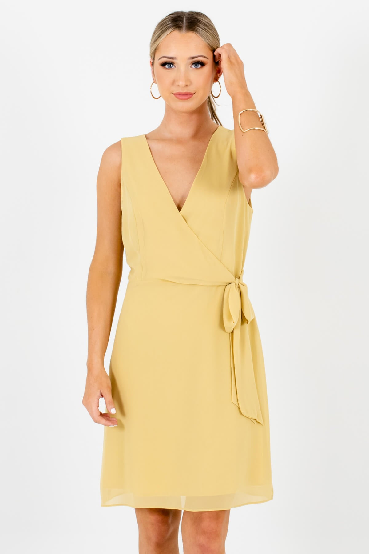 Yellow Faux Wrap Style Boutique Mini Dresses for Women