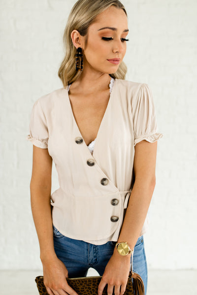 Beige Brown Wrap Style Boutique Tops for Women