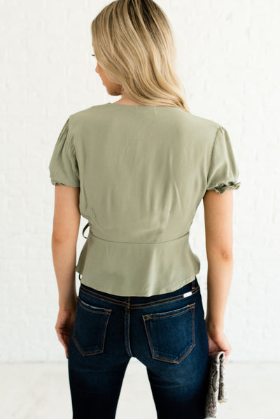 Sage Green Women's Boutique Tops with Decorative Buttons