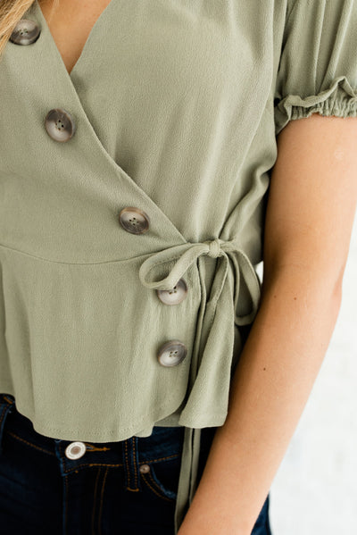 Sage Green Boutique Tops for Women with Ruffled Sleeve Detailing