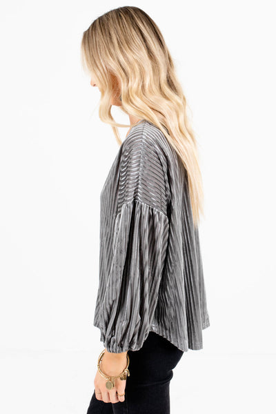 Silver Gray Bubble Sleeve Boutique Tops for Women
