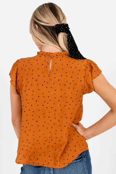 Women's Rust Orange Keyhole Back Boutique Blouses
