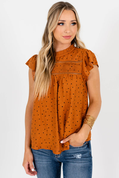 Women's Rust Orange Cute and Comfortable Boutique Blouse