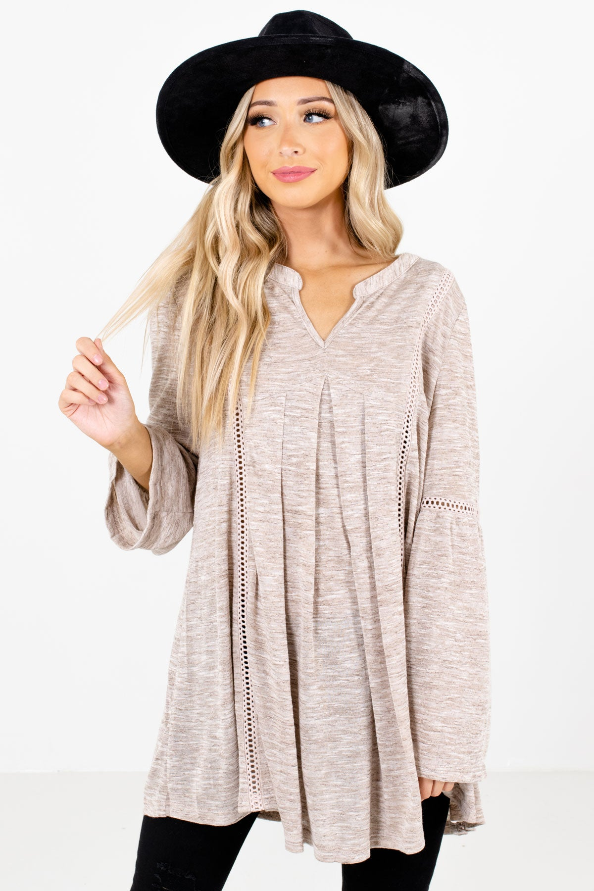 Taupe Brown Split V-Neckline Boutique Tops for Women