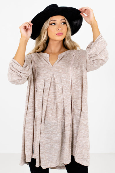 Women's Taupe Brown High-Low Hem Boutique Tops