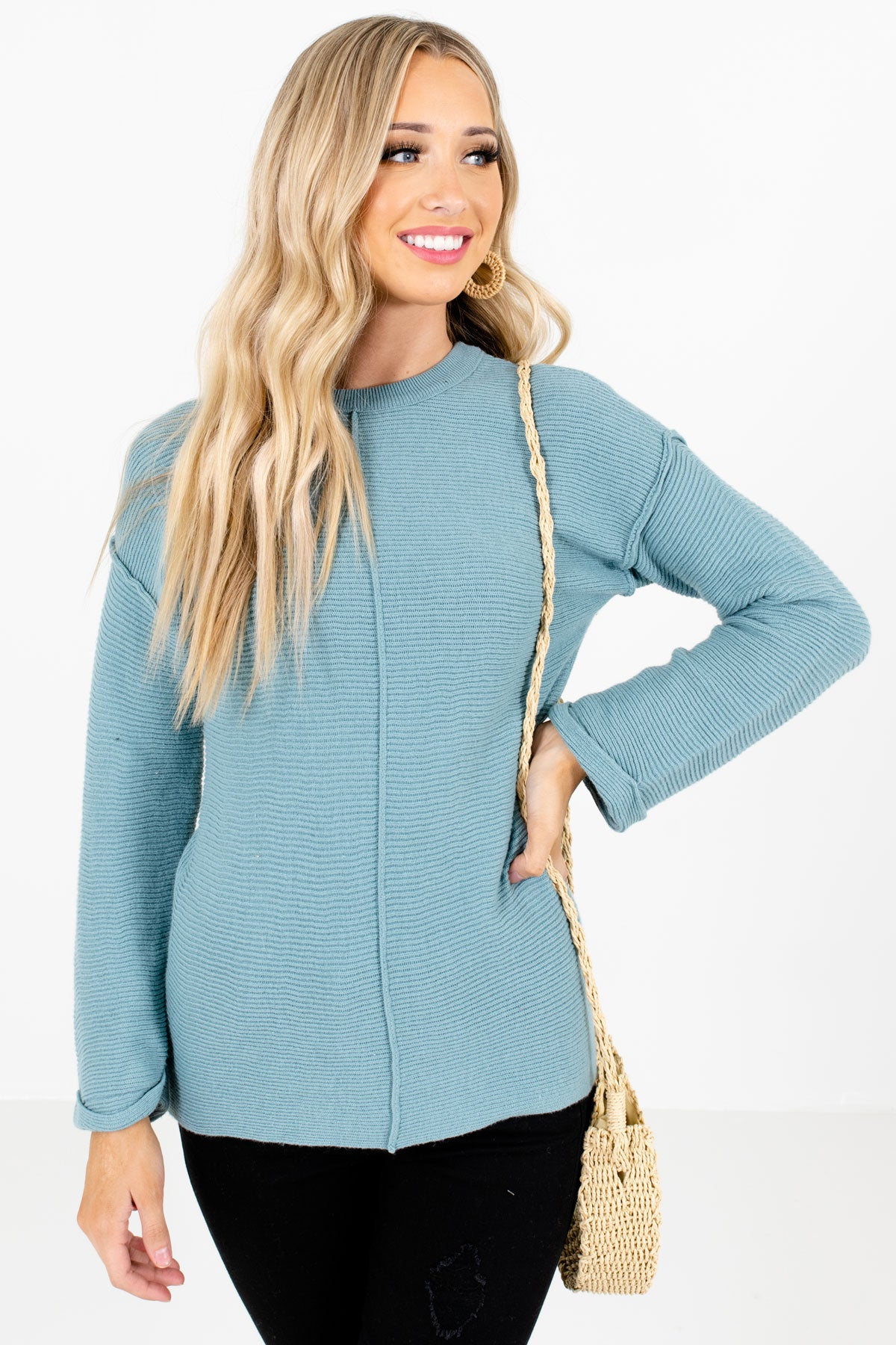 Blue High-Quality Ribbed Knit Material Boutique Sweaters for Women