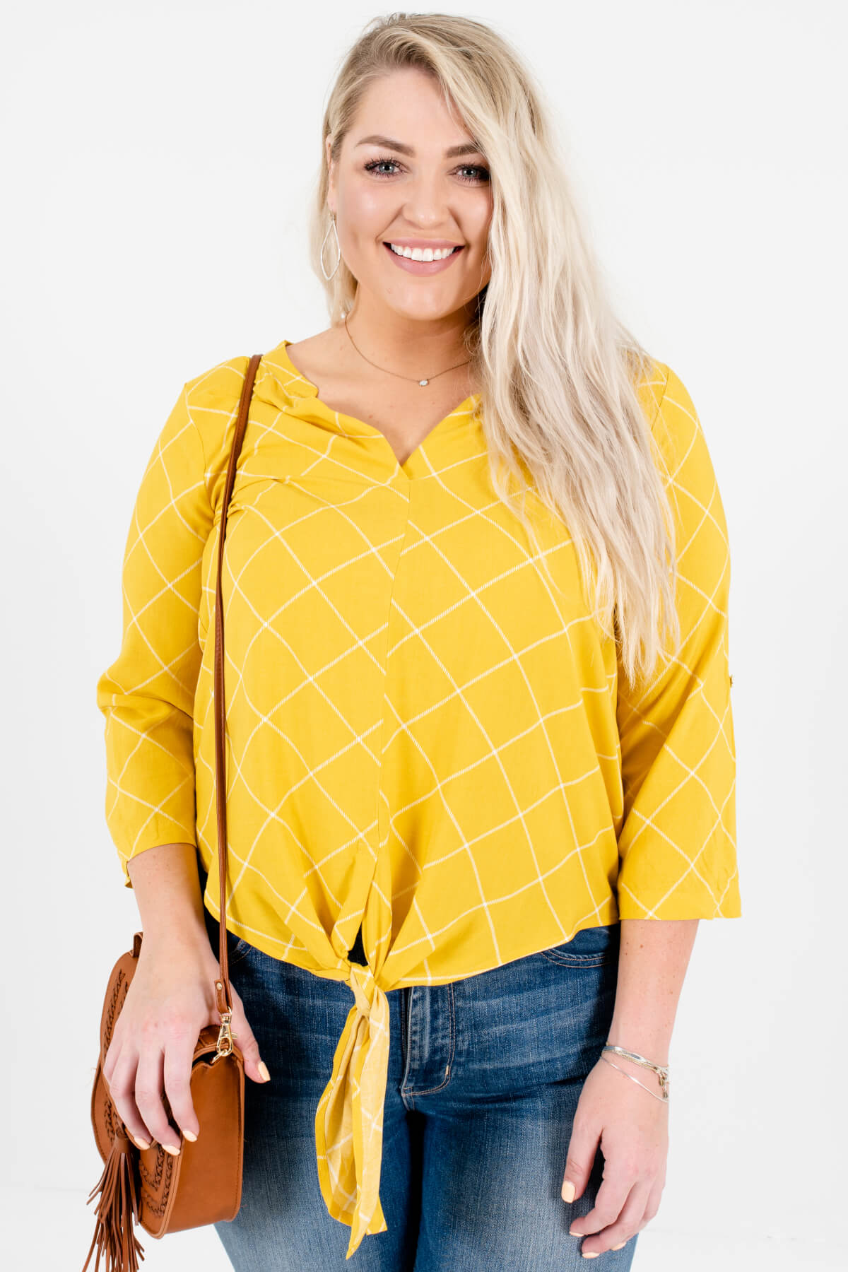 Yellow and White Grid Patterned Plus Size Boutique Blouses for Women