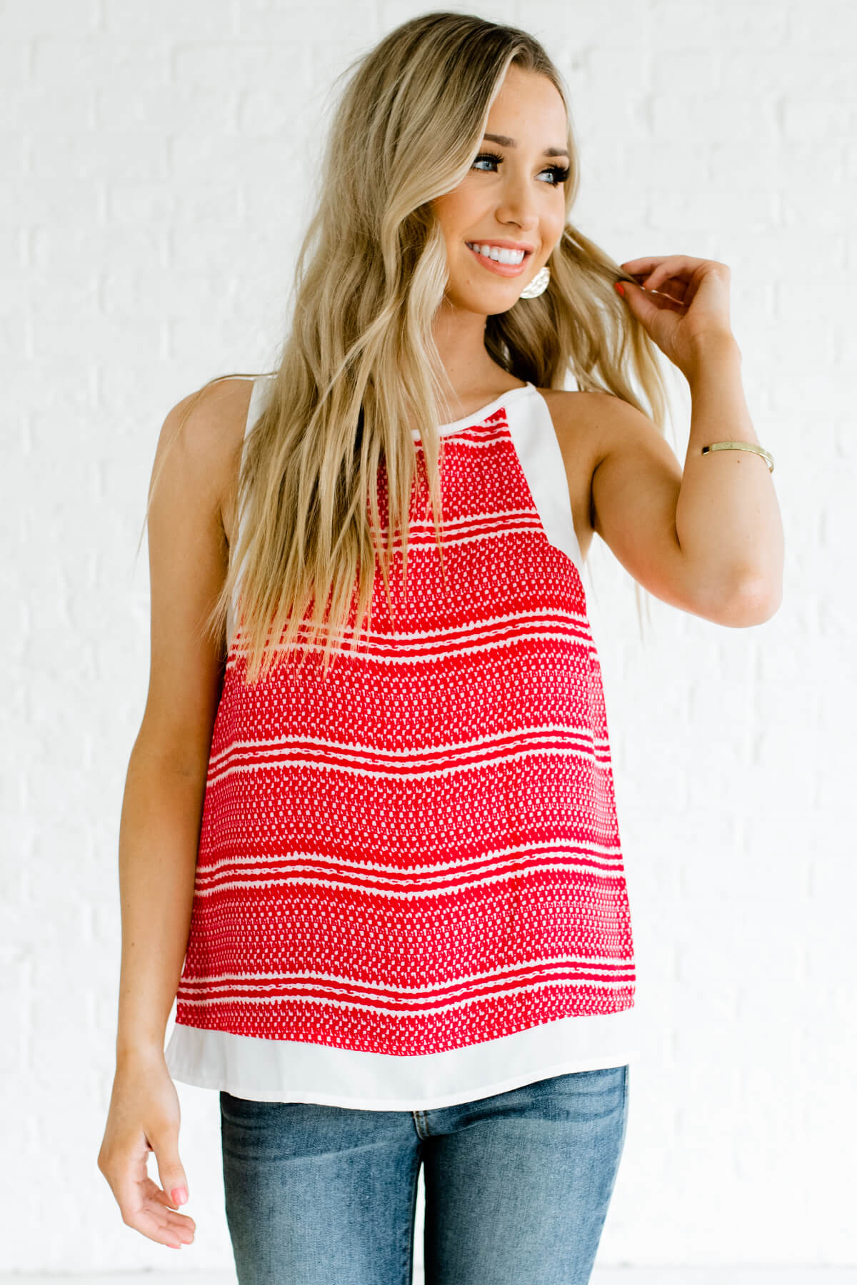Red and Cream Patterned Boutique Tank Tops for Women