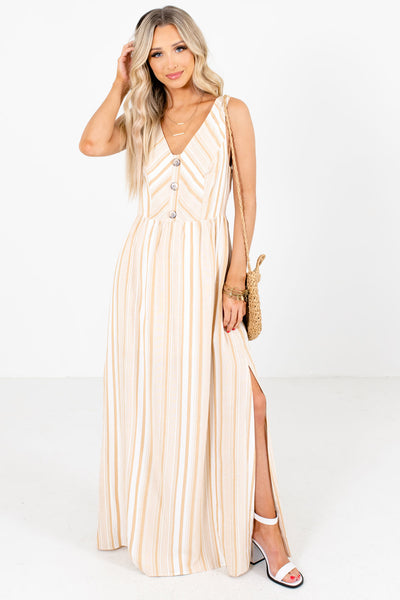 Taupe and White Striped Boutique Maxi Dresses for Women