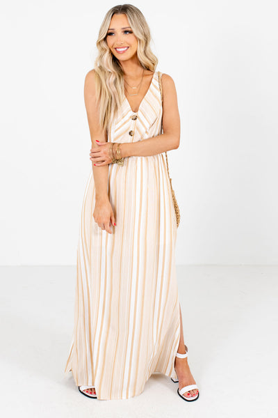 Women's Taupe Brown Partially Lined Boutique Maxi Dress