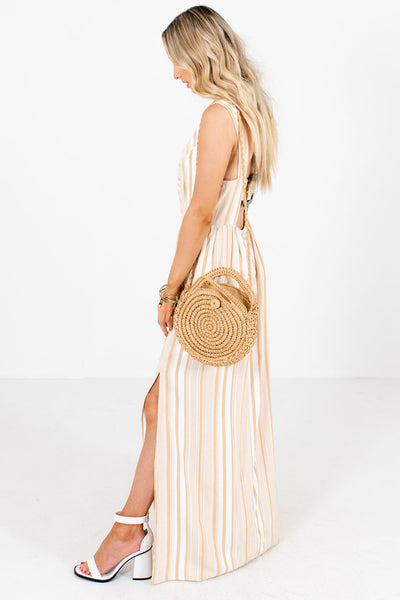 Taupe Brown Decorative Button Boutique Maxi Dresses for Women