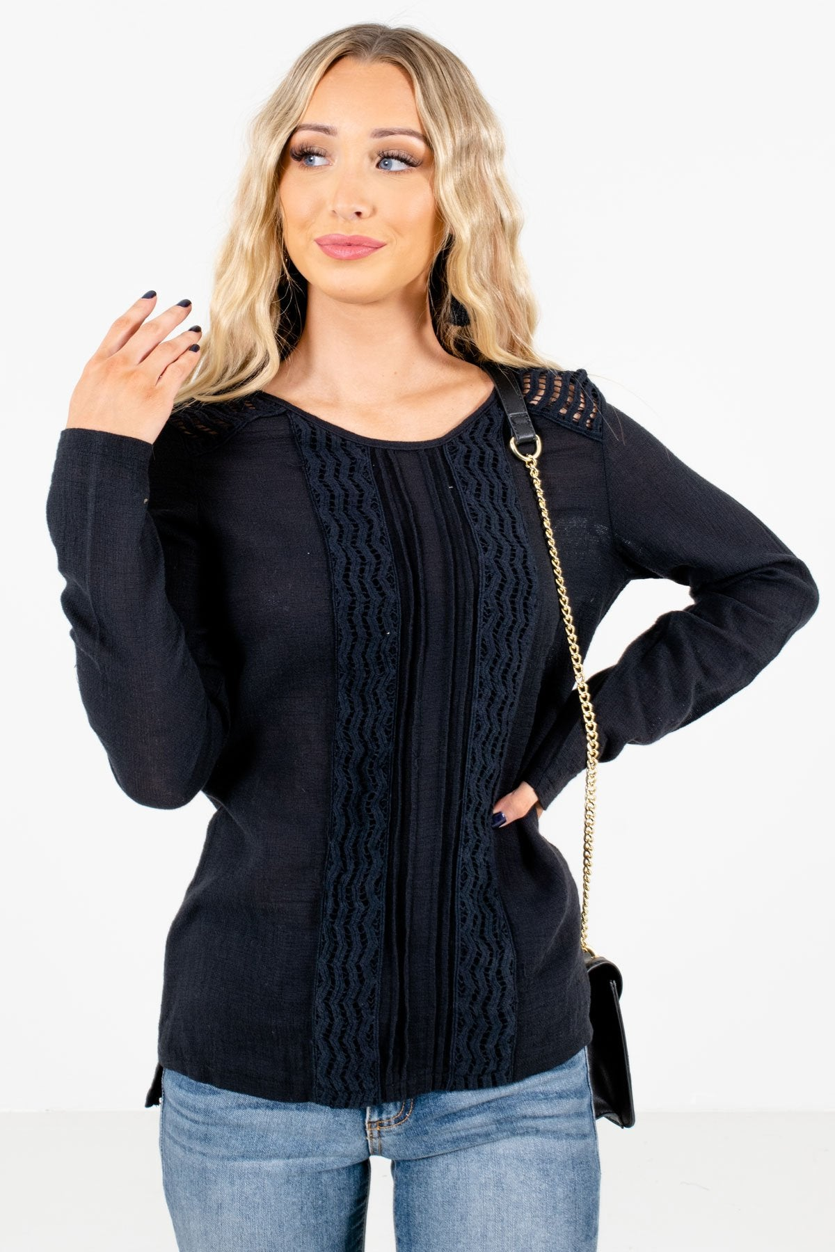 Black Crochet Lace Detailed Boutique Tops for Women
