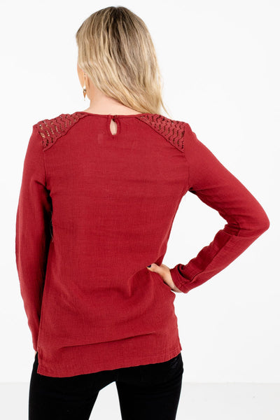 Women's Rust Red Long Sleeve Boutique Tops