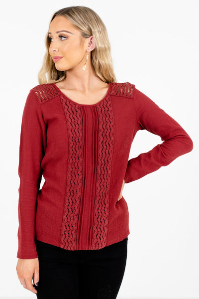 Rust Red Crochet Lace Detailed Boutique Tops for Women