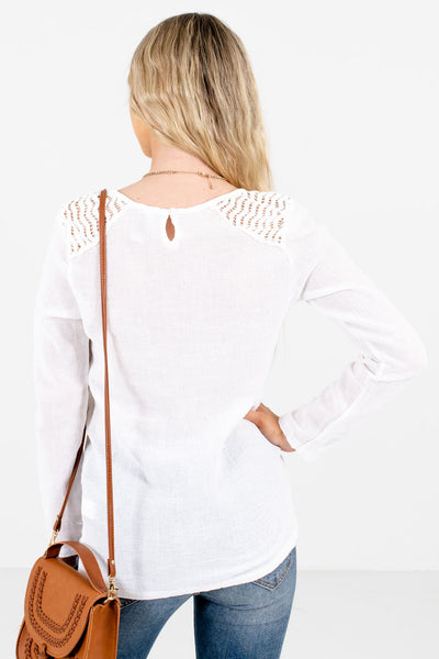 Women's White Long Sleeve Boutique Tops